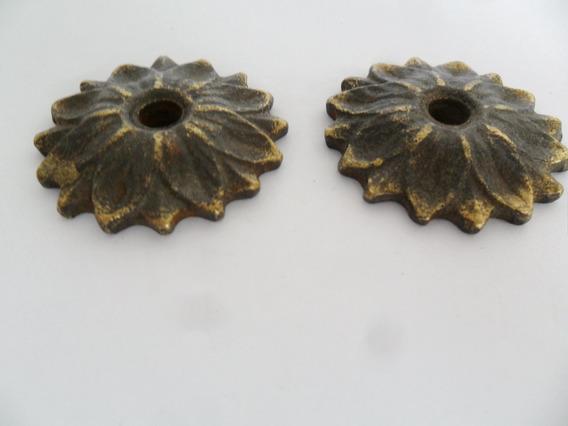 Espelho De Puxador Bronze Antigo Móveis Armários 2 Unidades