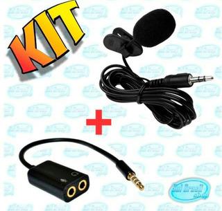 Kit Microfone De Lapela + Adaptador Para Celular Smartphone