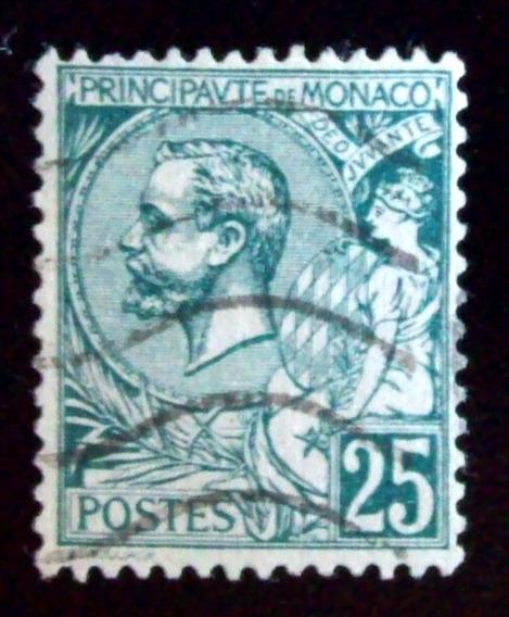 Mónaco - Sello Yv. 16 25c Príncipe Alberto I Usado L4506