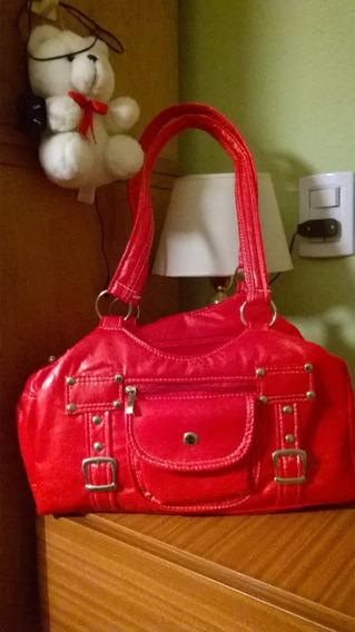 Cartera Ecocuero Roja, Comoda, Hermosa! Super Oferta!!!