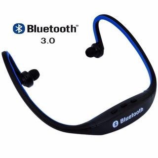 Audífono Sport Bluetooth S9 Negro Con Azul - Cargador