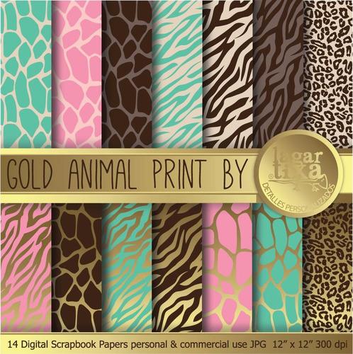 Kit Imprimible Pack Fondos Animal Print Clipart Cod 13