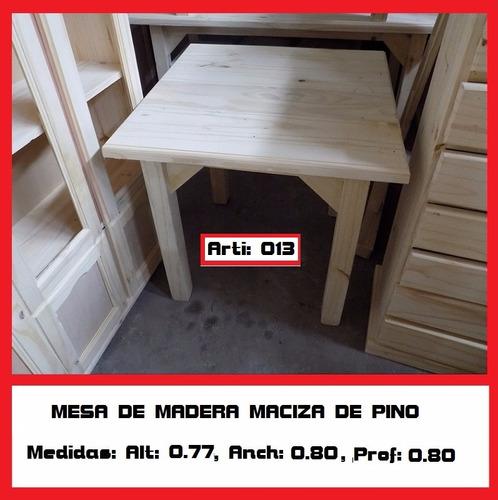 Mesa De Madera De Pino Macizo 0.80 M X 0.80 M