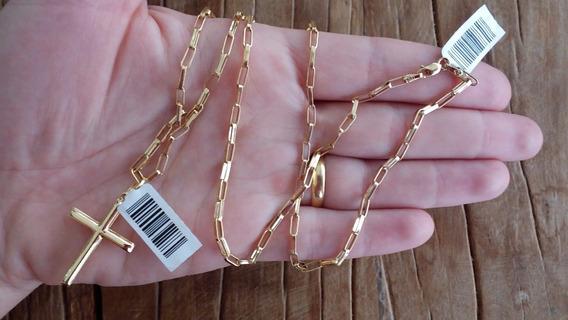 Corrente E Pingente Cruz 70cm 2.4mm Ouro 18k *