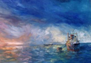 Pintura Oleo En Tela .paisaje De Panul Puerto San Antonio