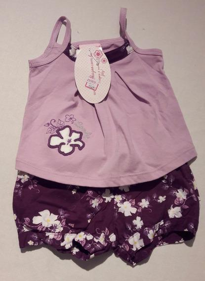 Conjunto Infantil Blusa + Shorts Lilás Orquídea - Alakazo