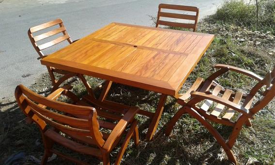 Jogo De Mesa Com Cadeiras Para Jardim, Piscina E Varanda