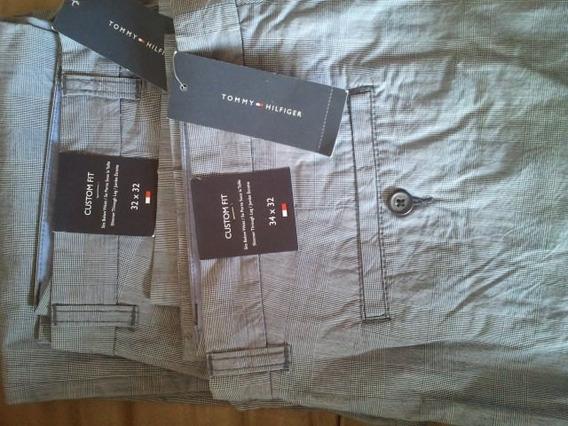 Pantalon Tommy De Vestir Casual Griz Claro / Rayas Cod 134