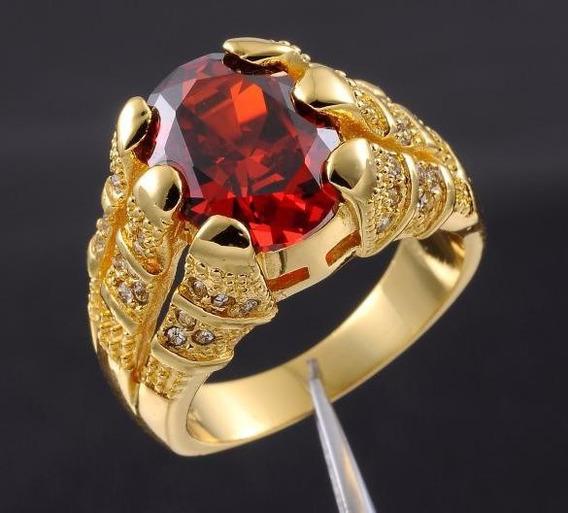 Anel Masculino Aro 25 Folheado Em Ouro Pedra Granada J2111a