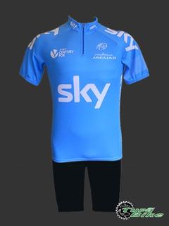 Uniforme Mtb/ciclismo Camisa Sky Azul + Bermuda Preta Lisa