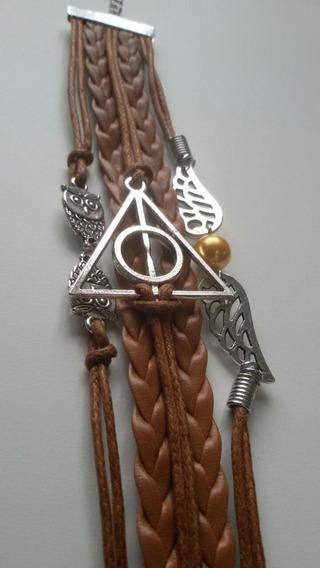 Pulseira Bracelete Harry Potter De Couro