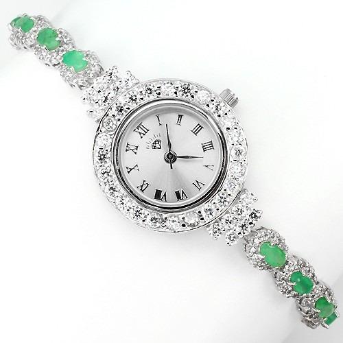 Reloj De Plata Esmeralda Natural