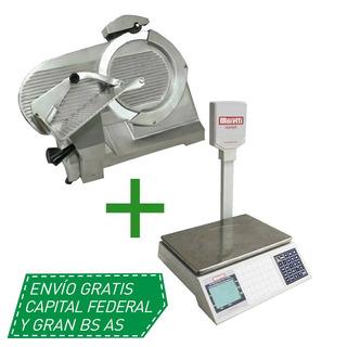 Combo Cortadora Fiambres Moretti 330 Balanza Market 30kg Cuo