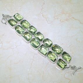 Maravilhosa! Pulseira De Prata 925 C/ Ametista Verde Natural