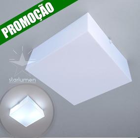5x Plafon Sobrepor Acrílico 30x30 Quadrado Luminária St30030