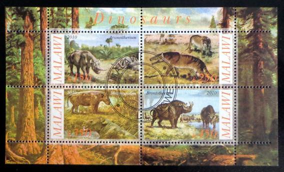 Malawi Dinosaurios, Bloque 4 Sellos 2010 Usado L7010