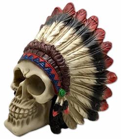 Crânio Com Cocar Índio Caveira Esqueleto Resina Decorativo