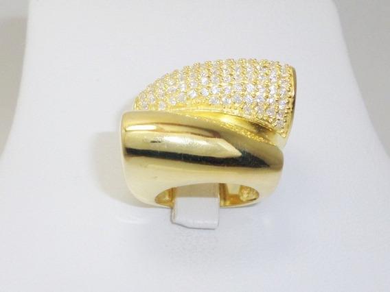 Litoraljoias2015 Anel Prata 925 Dourado Com 130 Zirconia