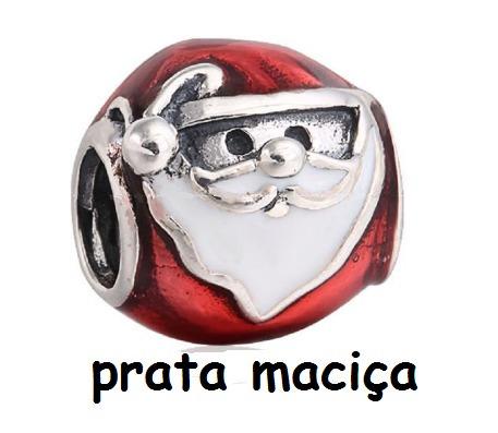 Papai Noel Em Prata Maciça - Pulseiras Braceletes Pandora