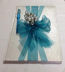 Livro De Presença Para Festas Prata E Azul Thifany