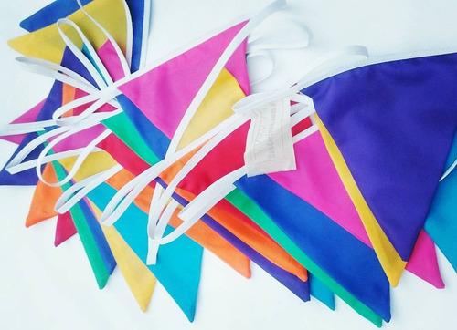 Imagen 1 de 5 de Banderines Tela  Colores 50 Metros Carnaval Exterior