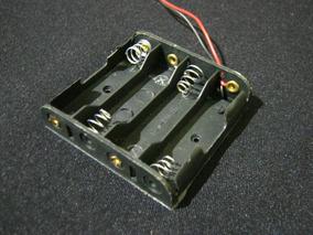 2x Suporte 4 Pilhas Aa Plástico Preto C/ Rabicho Eletrônica