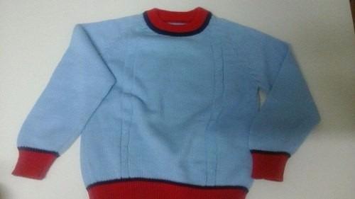 Sweater De Nene Talle 4 Liso Con Vivos En Rojo