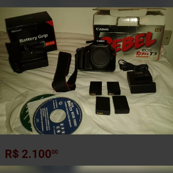 Camera Profissional Canon T3 Rebel 1100d +grip + Duas Bateri