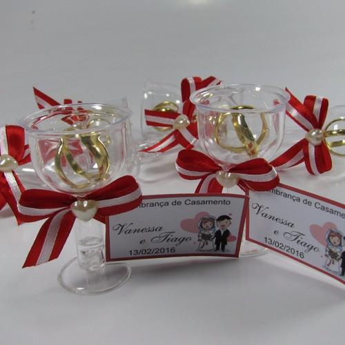 Lembrancinha Casamento Tacinha Com Aliancinhas - Kit Com 50