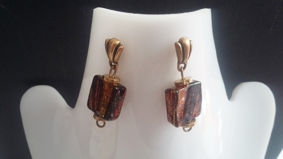 Aretes+pulsera -gliter Oro Negro-
