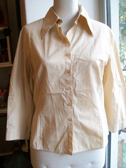 Camisa Manga 3/4 Color Beige Marca Zara - Talle M / L