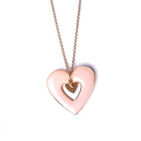 Colar Rosê Com Pingente Coração Rosa 3637