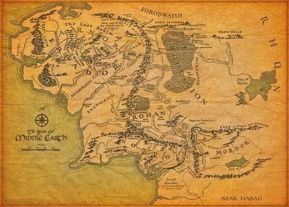 Mapa 60x84cm Terra Media Poster - Senhor Dos Aneis - Hobbit