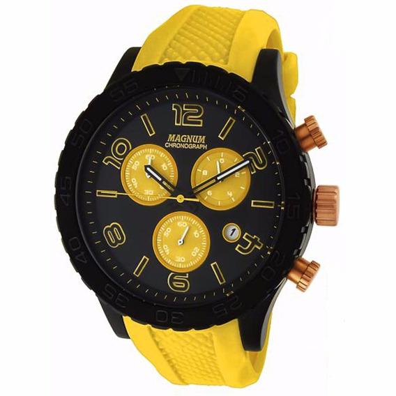 Relógio Magnum Masculino Cronografo Ma33504y Amarelo Preto