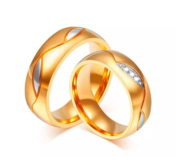 Alianças Noivado, Casamento Ou Compromisso Banhada Ouro