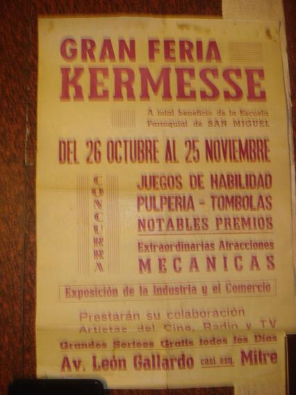 Antiguo Afiche De Calle De Papel. Kermese