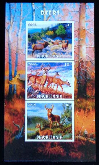 Mauritania Fauna Blq 3 Sellos S Dentar Ciervos 16 Mint L7992