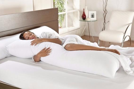 Travesseiro De Corpo Para Gestante Gravida + Fronha Algodão
