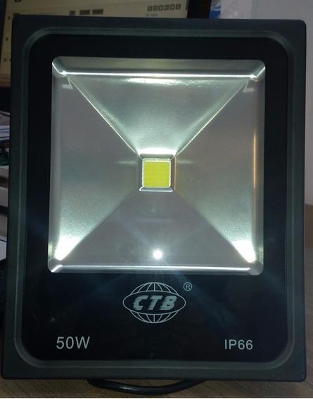 Kit 16 Refletores Led 50 Watts Branco Frio Slim Preto