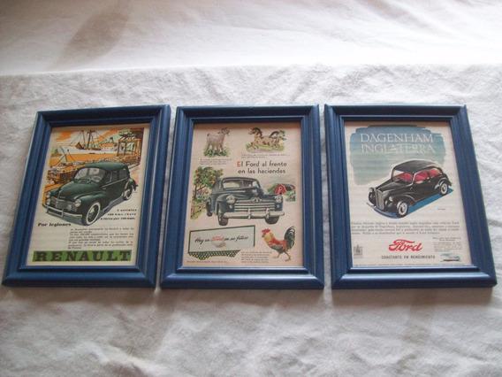 Lote:3 Láminas Originales Retro Enmarcadas De Ford Y Renault