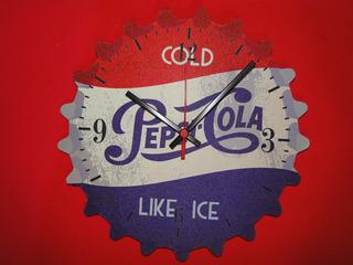 30cm Relogio Pepsi Cola Tampinha Antiga Envelhecida