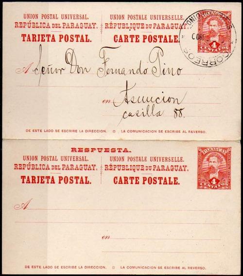 Paraguay 1900. Tarjeta Postal Doble De San Bernardino