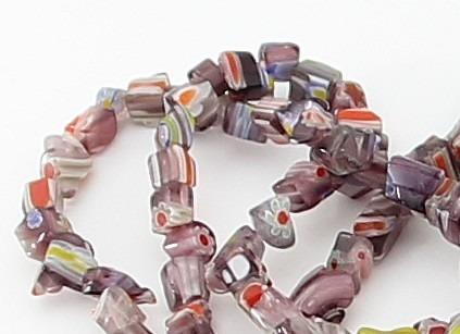 Cascalho Murano Lilás Com Desenhos Fio 90cm Teostone 546