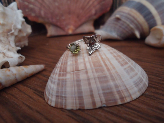 Anillo Medio Dedo Nudillos Mariposa Circonia Verde Plata 925