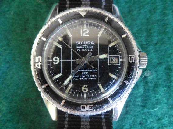 Relógio Sicura By Breitling Submarine 400 Corda 23 Rubis Rev