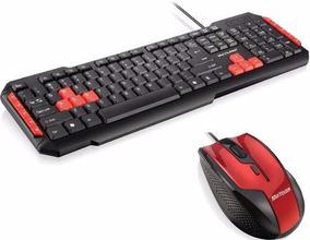 Kit Teclado Red Gamer Com Mouse Fire Usb Optico 6 Botoes