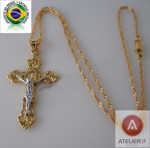 Corrente Cordão Trançado Crucifixo Jesus Ouro Amarelo Branco