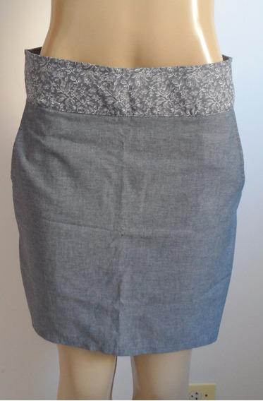 Saia Azul Parece Jeans Tamanho M
