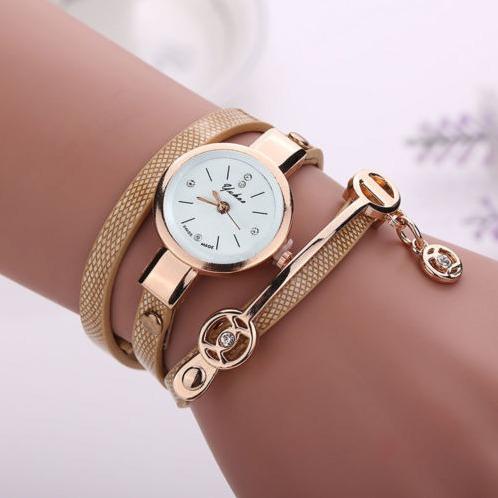 Relógio Feminino Bracelete Dourado Pulseira Couro Ajustável
