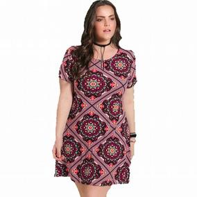 60e8d215a Vestido Evase Plus Size Estampado - Calçados, Roupas e Bolsas no ...